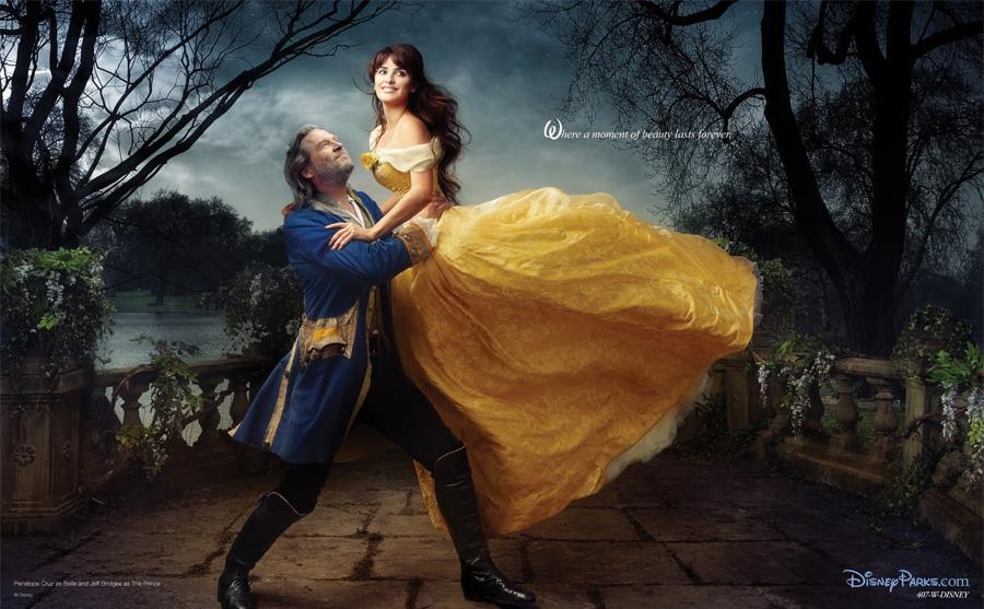 Bella y la Bestia. Jeff Bridges como La Bestia y  Penélope Cruz como Bella