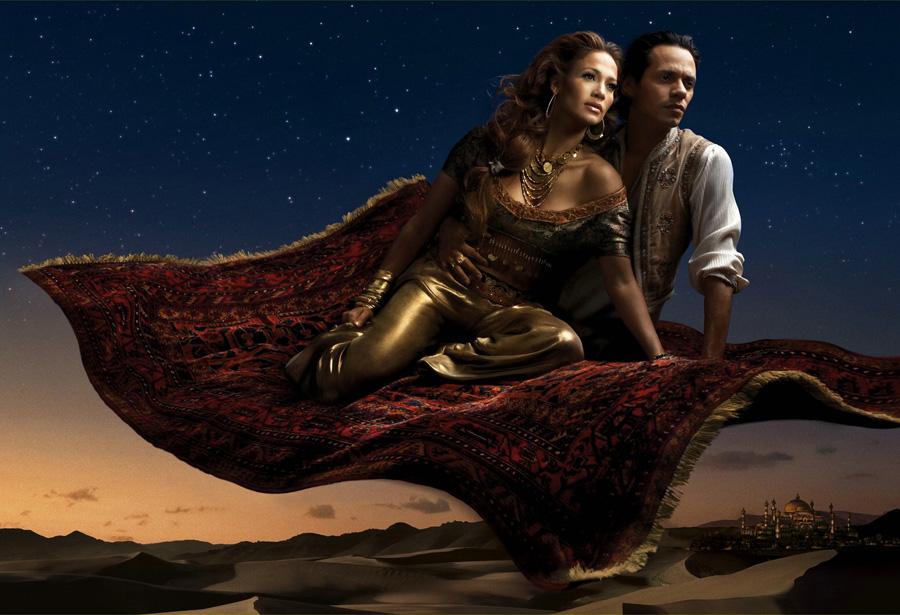 Aladino. Jennifer Lopez como la Princes Jazmín y Marc Anthony como Aladino